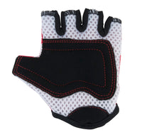 Our Red Dotty gloves feature white mesh padding, with additional black faux suede padding on the palms for extra protection