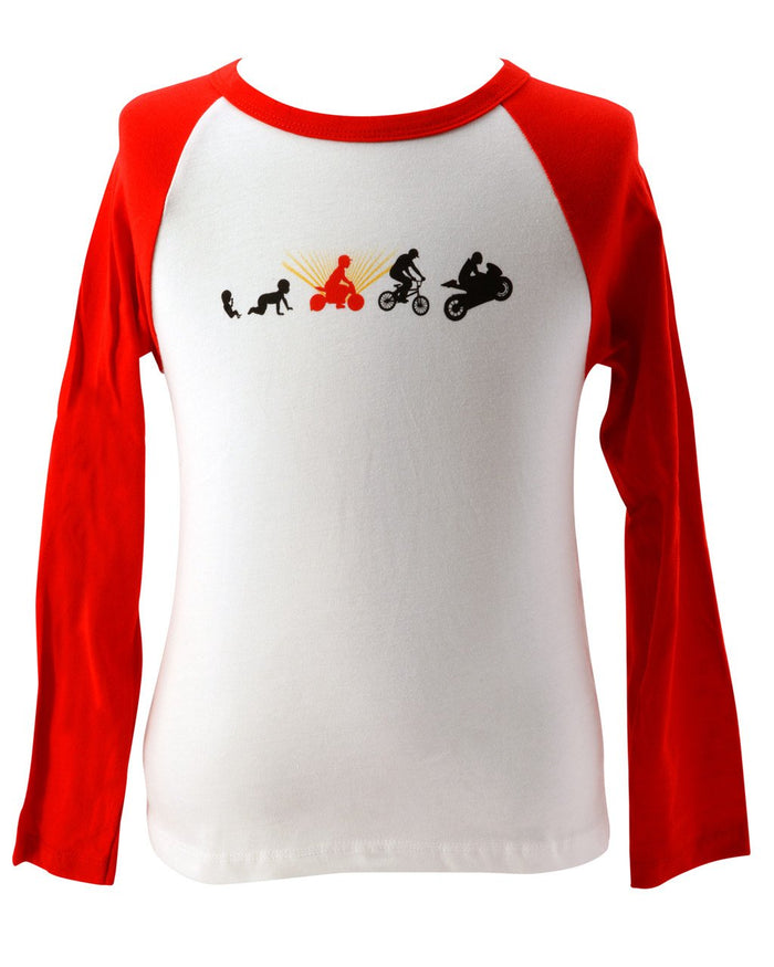 Our Kiddimoto Evolution raglan t-shirt has a white body with red sleeves, and a funny black, red and gold graphic of a baby growing up to ride a motorcycle