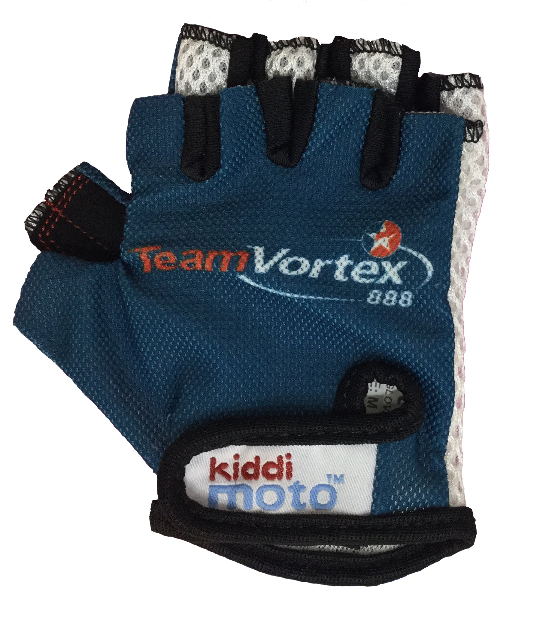 Our Team Vortex gloves are lightweight and fingerless, with a deep teal base and the Team Vortex 888 logo printed over the backs of the palms