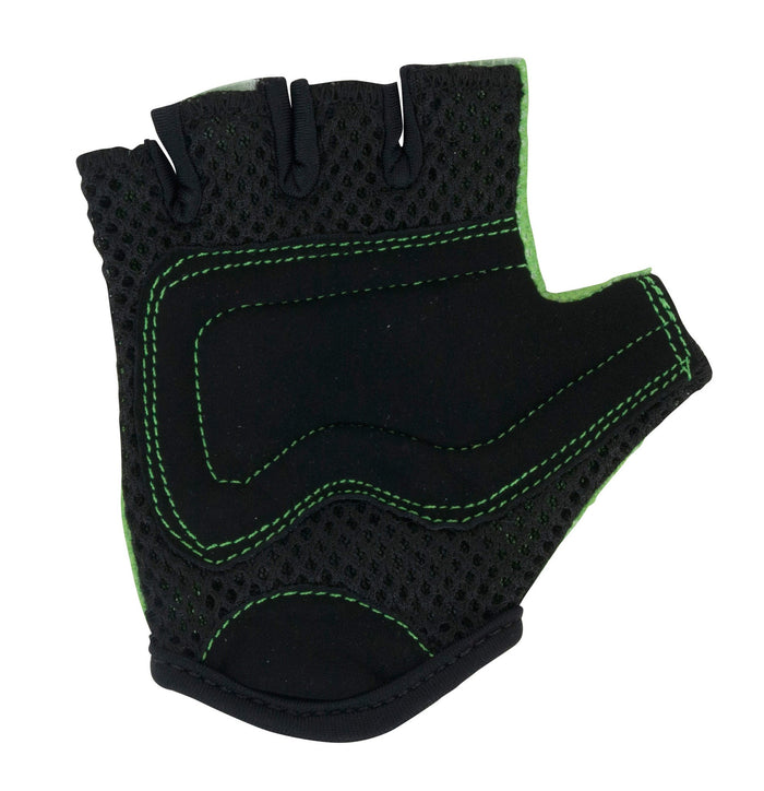 Our Green Kiddimoto gloves have black mesh and faux suede on the palms for extra protection, with a matching green stitching