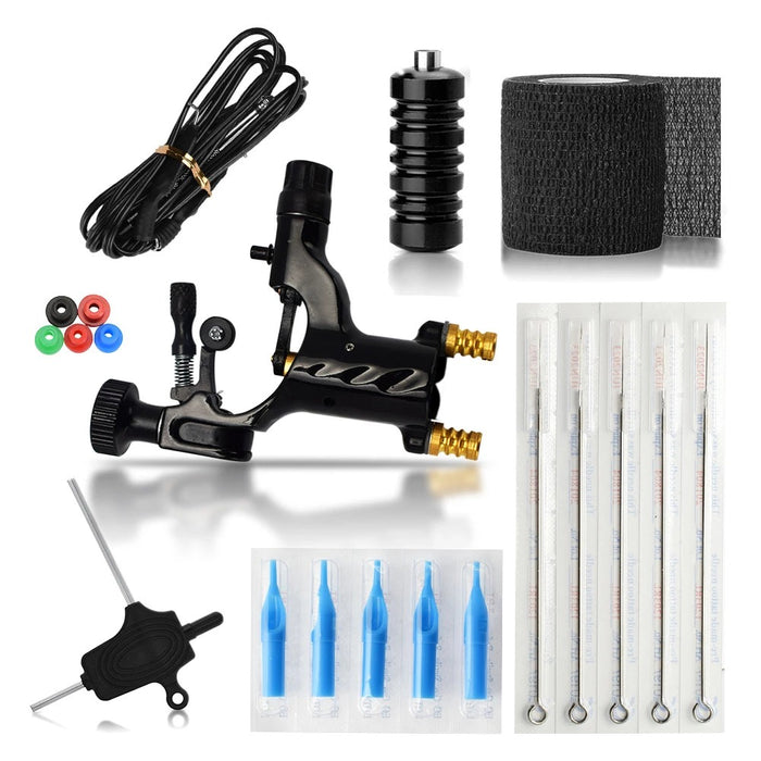 Rotary Tattoo Machine Kit Include Handle Needle Hook Line Pin Cushion