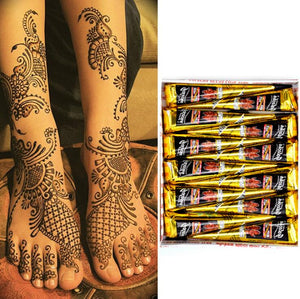 12pcs Henna Cones Indian Henna Tattoo Paste For Temporary Tattoo