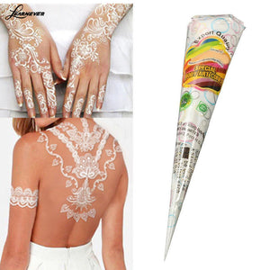 8pcs White Natural Henna Tattoo Paste Cone Temporary Tattoo Body Indian Art