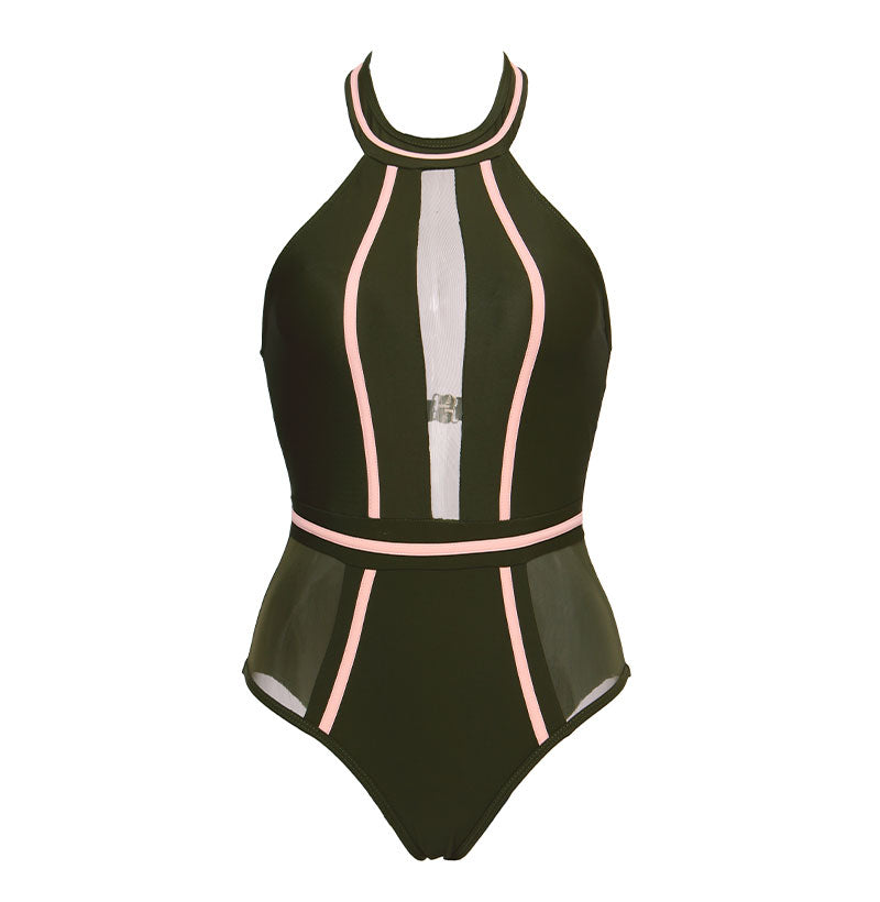 Sexy On Piece High Neck Swimsuit With Mesh Patchwork