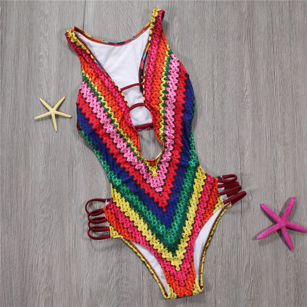 One Piece Swimsuit With Backless Push Up Design