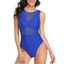 Push Up High Neck One Piece Swimsuit With Halter Mesh Style