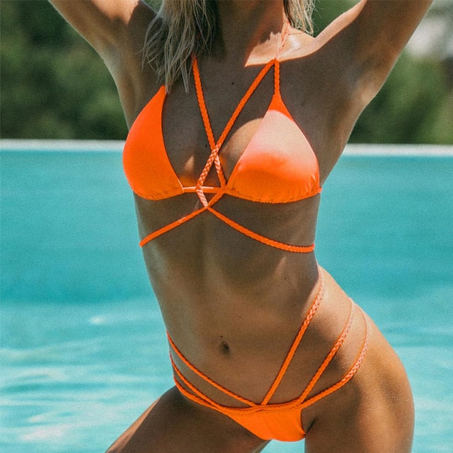 Two Pieces Set: Cross String Low Waist Fashion Swimwear