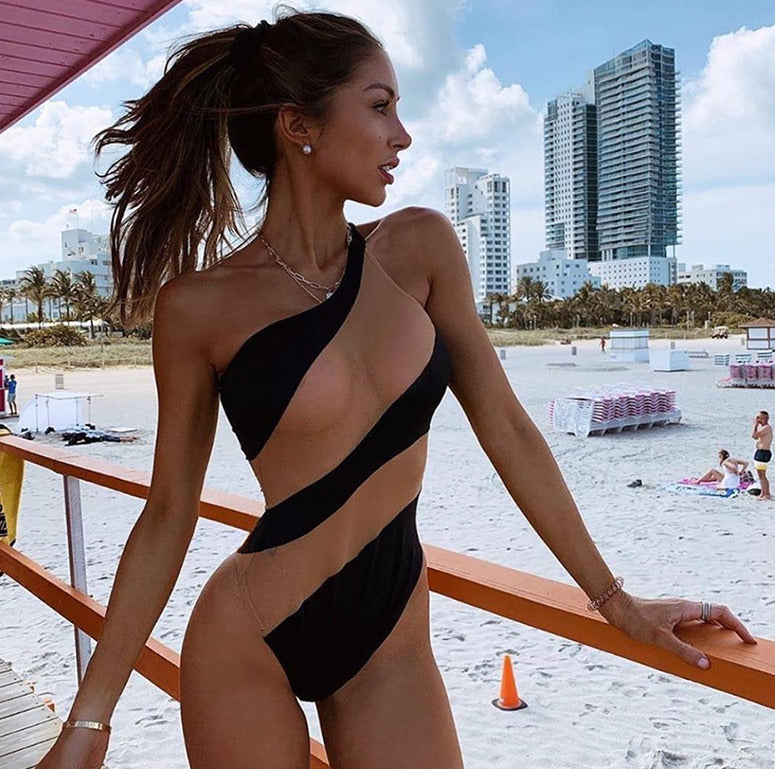 Push-up Padded Stripe One Piece Bikini With One Shoulder Style