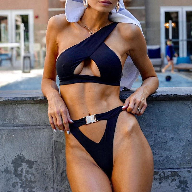 High Waist Swimsuit With Keyhole Hollow Design