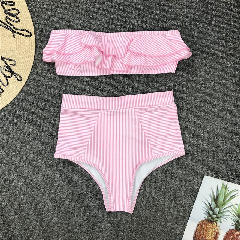 Bandeau Bathing Suit: Sexy Ruffle High Waist Striped Off Shoulder Bikini
