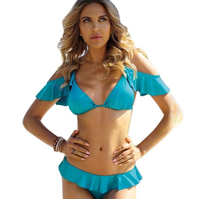 Bandeau Bikini With Halter Low Waist Stripe And Drawing Design
