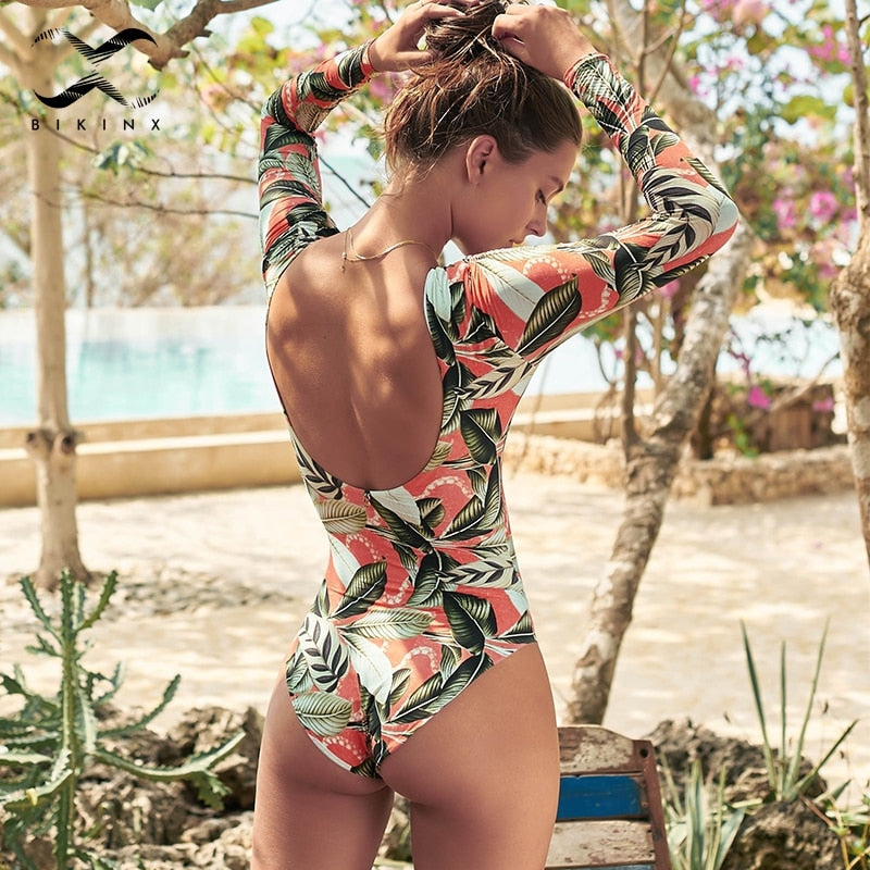 High Neck Long Sleeve One Piece Swimsuit With Leaves Print