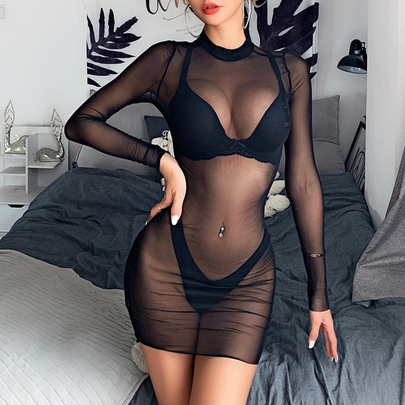 See Through Mesh Sheer Bikini Cover Up With Long Sleeve Design
