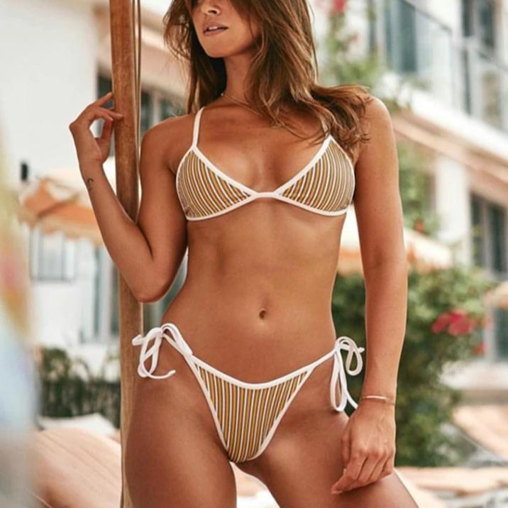 Cute Spit Two Pieces Bikini With Stripe Pattern