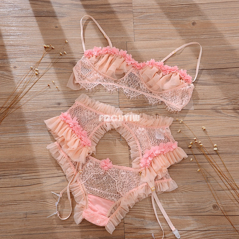 Brand New French Sexy And Cute Bra and Thongs Micro Bikini Lingerie Set For Ladies Light Pink Pijama