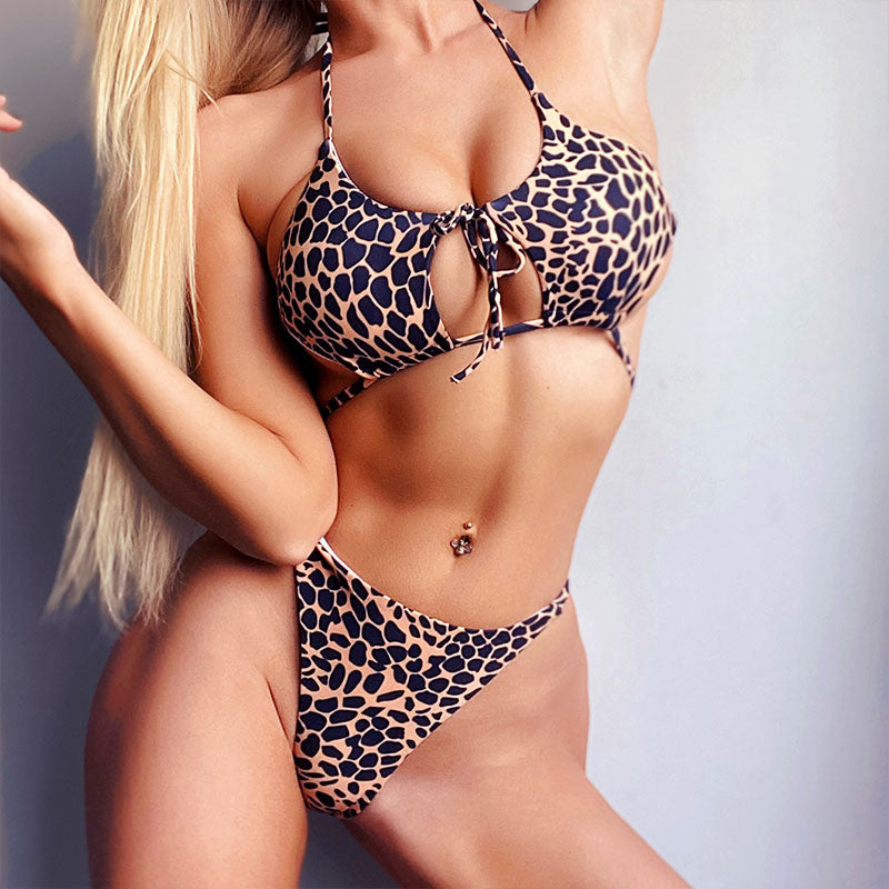 Peekaboo Print Bikini Set Halter Swimsuit Push up Micro Bikini Sexy High Cut