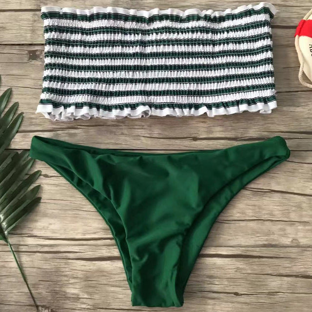 Bandeau Bikini Set High Waisted Swimsuit Ruffles Swimwear For Women Sexy