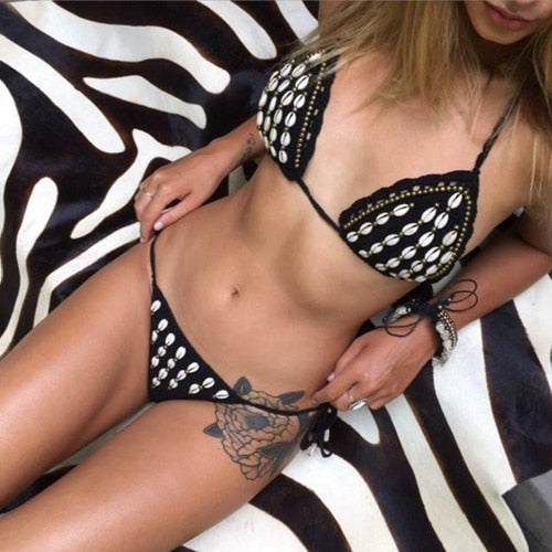 Micro Bikini Solid Crochet For Women Handmade Bikini Shell Shape Swimsuits
