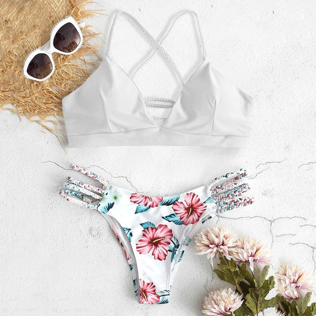 Micro Bikini Set Mix And Match Flower Bottom Two Piece Swimsuit For Women