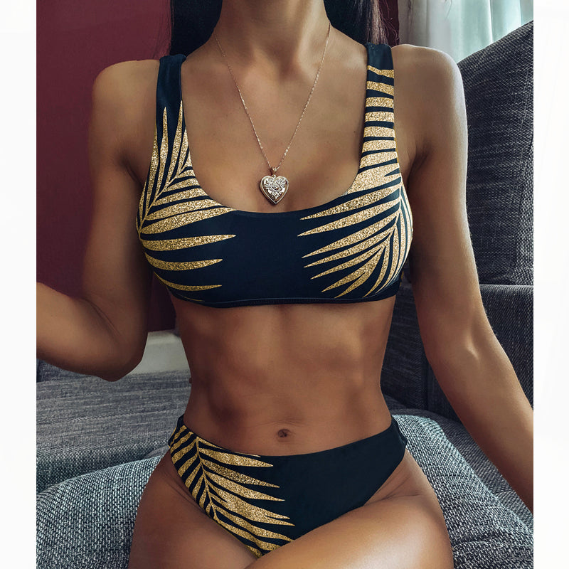 Cute Two Piece Swimsuits Printed Bikini For Women Push Up Bikini Bandeau Bikini