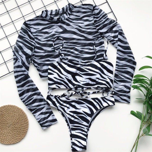 Long Sleeve Bikini Summer Swimwear For Women Three Pieces Swimsuit Leopard Print Summer Sexy Bathing Suit