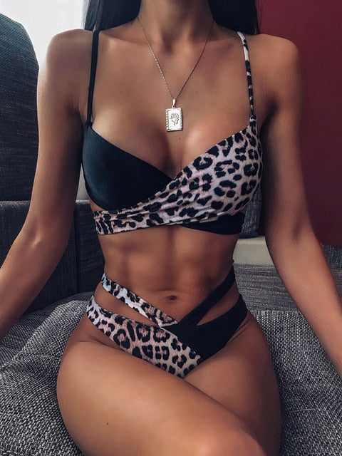 Two Piece Swimsuit Leopard Cross Bandage Micro Bikini Set Summer Clothing For Female