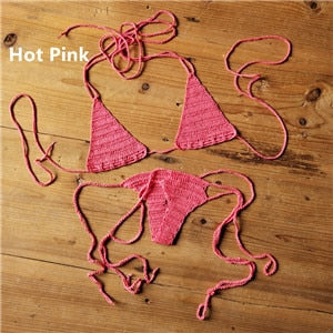 Micro Mini Bikini: Cotton 13 Color Hand Crochet Swimwear