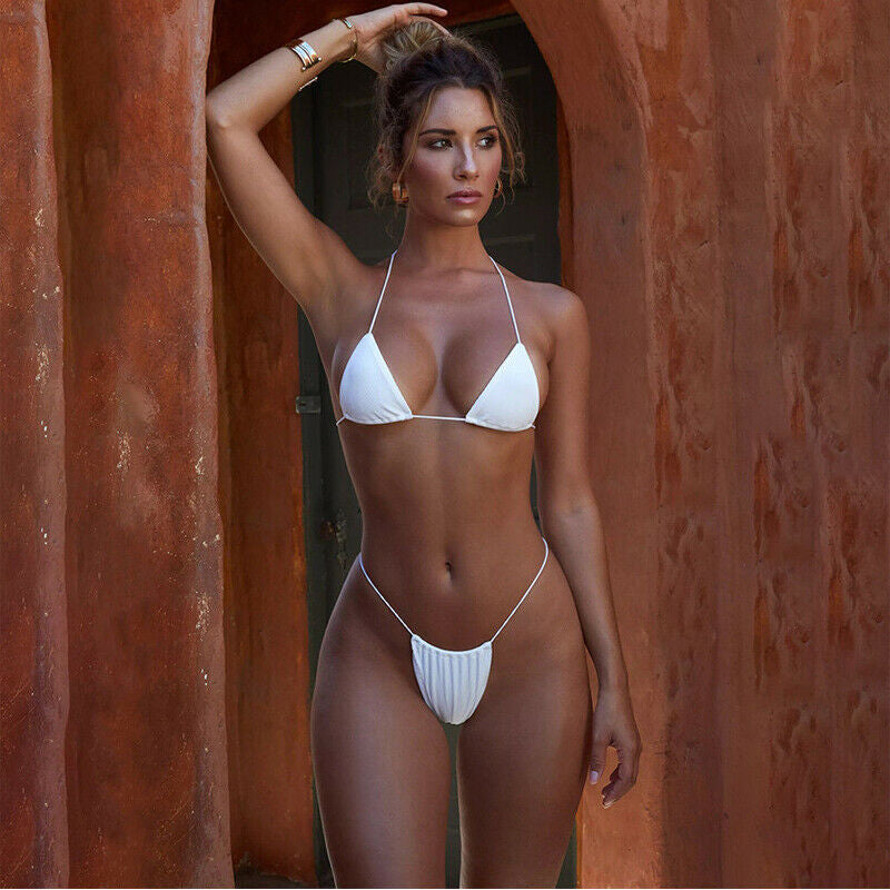 Hot Micro Bikini With Solid Colour and Thong Bandage Style