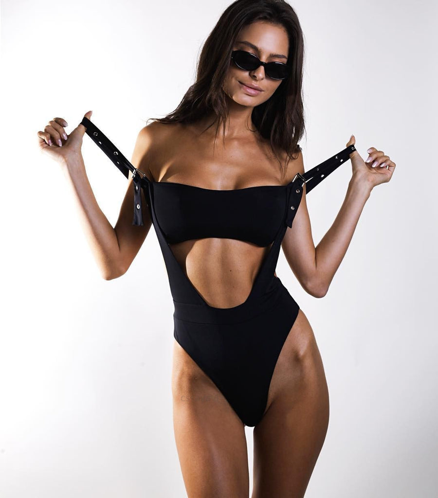 Black One Piece Swimsuit Cut Out Badpak Fused Thong Monokini