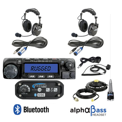 RRP696 2-Place Intercom with 60 Watt Radio and AlphaBass Headsets