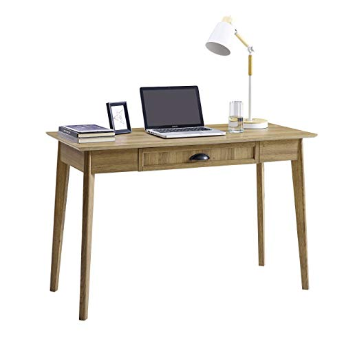 Newport Series Home Office Computer Writing Desk with Fully Extended Drawer | Laptop PC Workstation With USB Hub | Sturdy and Stylish | Easy Assembly| Golden Oak Wood Look Accent Living Room Furniture