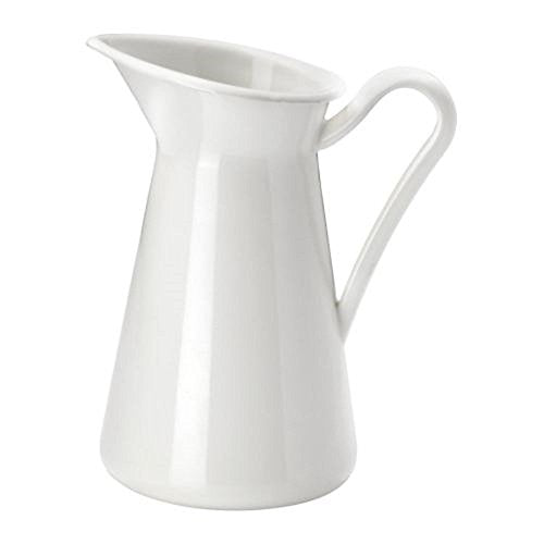 Steel Enamel Farmhouse Pitcher Vase, White (6 Inch)