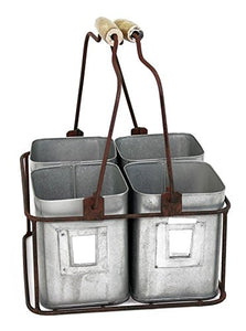 "Colonial Tin Works Metal Four Tin Organizer with Handles, 9"" x 9"" x 5½"", Galvanized Gray Green Rust"