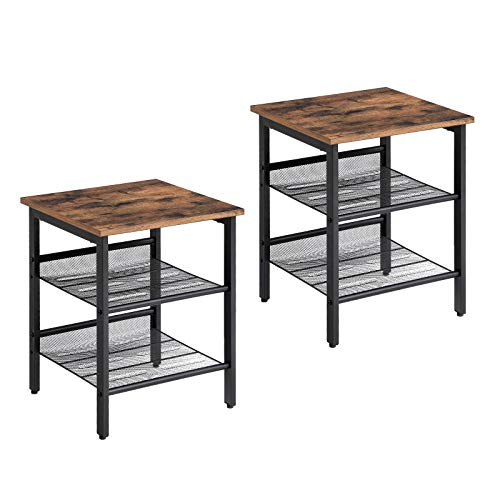 VASAGLE Industrial Nightstand, Set of 2 Side Tables, End Tables with Adjustable Mesh Shelves, for Living Room, Bedroom, Stable Metal Frame and Easy Assembly ULET24X