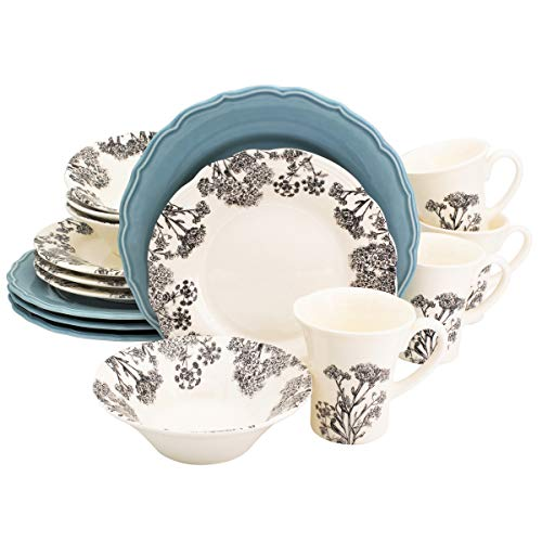 Euro Ceramica Savannah Collection 16 Piece Elegant Ceramic Dinnerware Set, Service for 4, Floral Decal, Blue