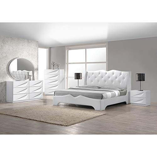 Best Master Furniture 5 Pcs Modern Lacquer Bedroom Set, Queen, White