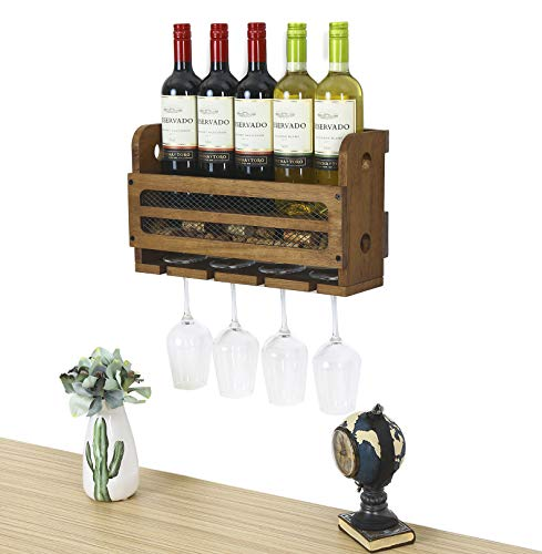 SODUKU Wall Mounted Wooden Wine Rack 5 Wine Bottles and 4 Stem Glasses Holder Wine Cork Storage Rack Walnut Brown