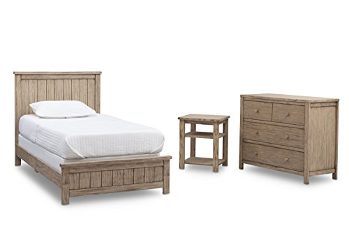 Delta Children Farmhouse 3-Piece Twin Room-in-a-Box, Rustic Driftwood