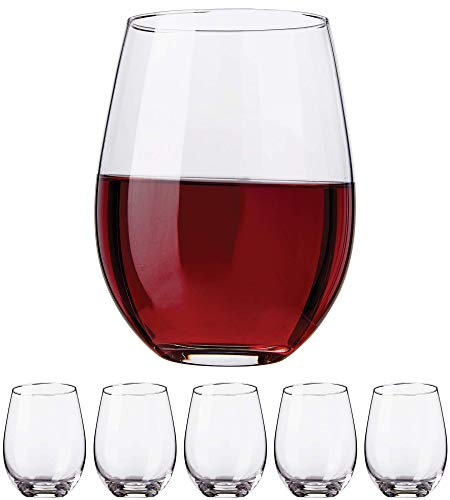 Stemless Wine Glasses Set, 18oz – Set of Elegant Cocktail Tumblers – Premium Glass Drinking Cups – Deluxe Gift Pack - Dishwasher Safe – by Kitchen Lux (12 Pack)