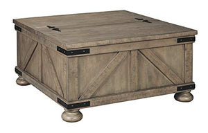 Signature Design by Ashley - Aldwin Farmhouse Storage Coffee Table, Brown Pine Wood