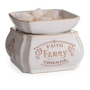 CANDLE WARMERS ETC 2-in-1 Candle and Fragrance Warmer for Warming Scented Candles or Wax Melts and Tarts with to Freshen Room, Faith Family Friends