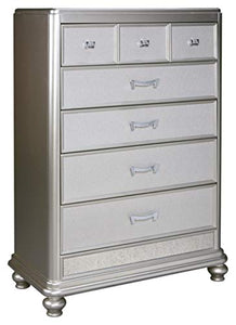 Ashley Furniture Signature Design - Coralayne Chest of Drawers - Glamorous Hollywood-Inspired Dresser - Metallic Silver Finish