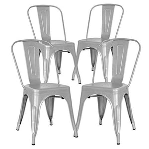 Poly and Bark Metal Modern Dining Chair, Industrial Mid Century Kitchen Cafe Restaurant Side Chair, Stackable, Grey (Set of 4)