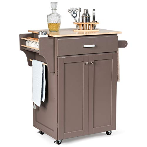 Giantex Rolling Kitchen Island, Utility Kitchen Cart with Spice Rack, Towel Rack, Portable Kitchen Trolley Cart for Serving with Rubber Wheels, Rubber Wood Countertop (Coffee)