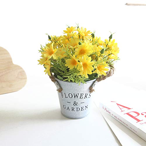 Charmly Artificial Yellow Daisy Flowers Potted – Spring Yellow