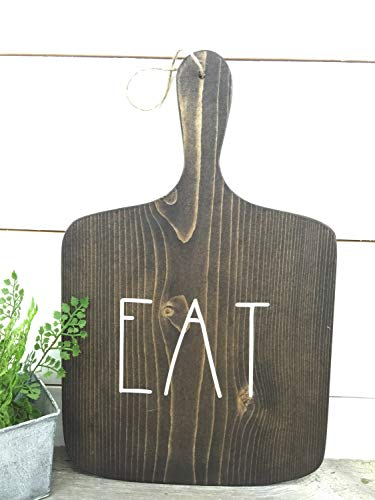 CELYCASY Eat Sign - Decorative Cutting Board - Farmhouse Sign - Kitchen Decor - Kitchen Sign - Cottage Kitchen - Rustic Home Decor - Rustic Sign