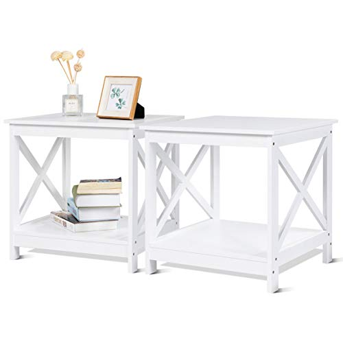 Giantex 2 Pcs End Table Nightstand Sofa Side Table X-Shaped Frame Accent Furniture Display Shelves for Living Room Bedroom L19 xL19 xH18 (2, White)