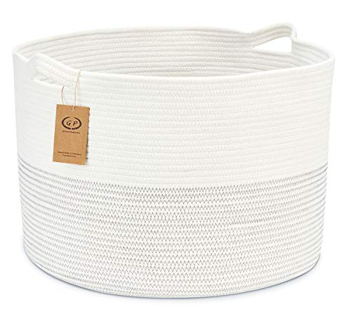 Cotton Rope Baskets 22 x 14 inches, Jumbo Woven Laundry Basket with Handles, Large Storage Baskets