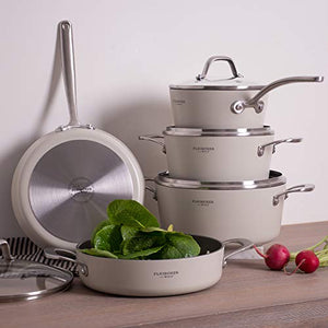 Fleischer & Wolf White Pots and Pans Sets, Nonstick Cookware Set 9pcs, Aluminum Stainless Steel,Oven Safe 550F, Induction Compatible,Dishwasher Safe