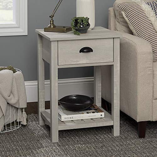 Walker Edison Furniture Company Farmhouse Square Side Accent Set Living Room End Table with Storage Door Nightstand Bedroom, 18 Inch, Stone Grey